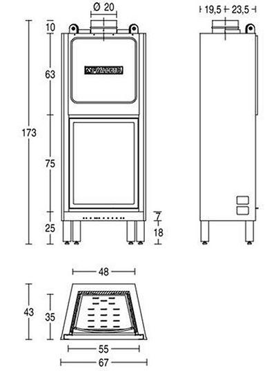 Schiță dimensiuni Focar HT 650