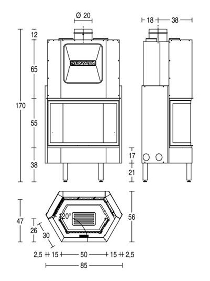 Schiță dimensiuni Focar HT 750