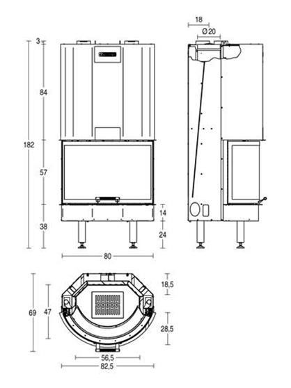 Schiță dimensiuni Focar HT 760 T