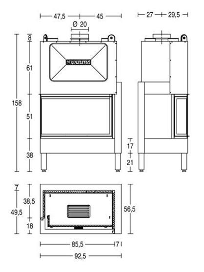 Schiță dimensiuni Focar HT 801 D/S