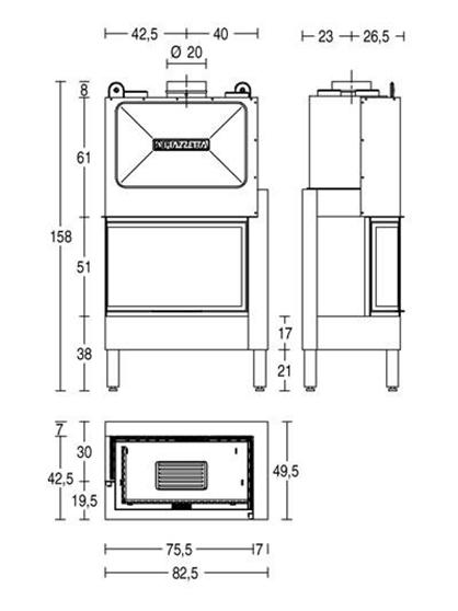 Schiță dimensiuni Focar HT 810 D/S