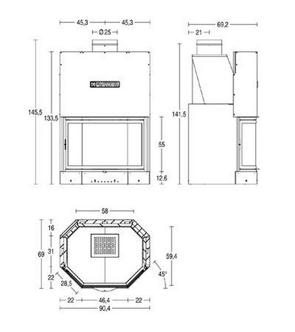 Schiță dimensiuni Focar MA 270 SL