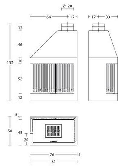 Schiță dimensiuni Focar MA 280 D/S