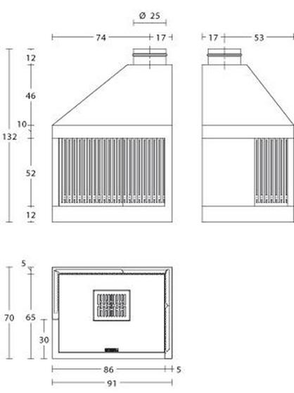 Schiță dimensiuni Focar MA 282 D/S