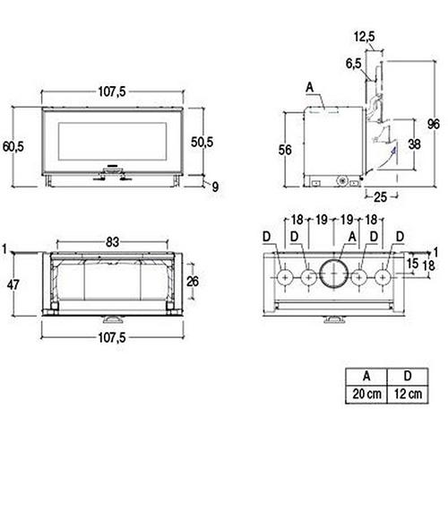 Schiță dimensiuni Focar MC 105/48 BL