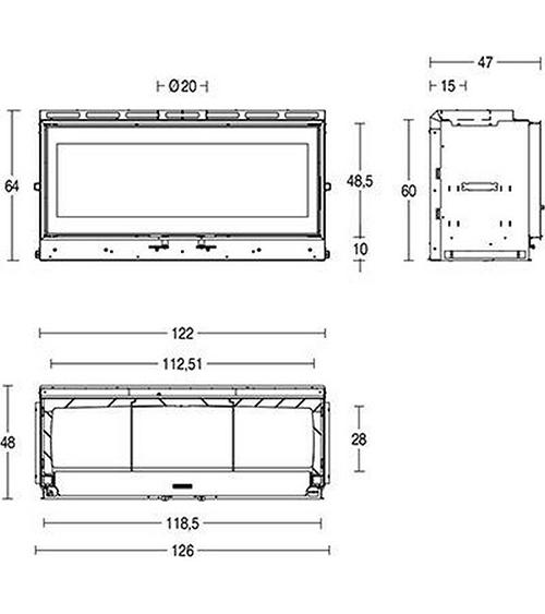 Schiță dimensiuni Focar MC 120/48