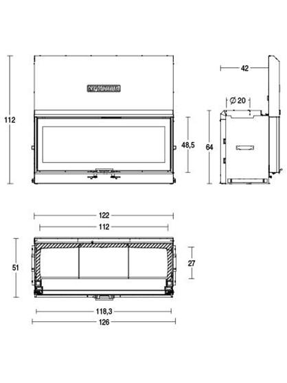 Schiță dimensiuni Focar MC 120/48 SL