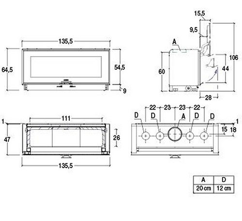 Schiță dimensiuni Focar MC 133/52 BL