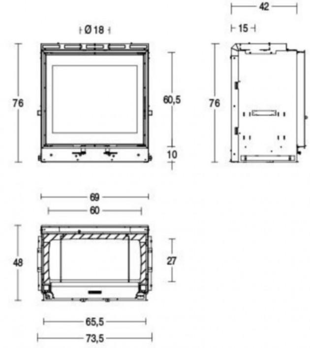 Schiță dimensiuni Focar MC 65/60