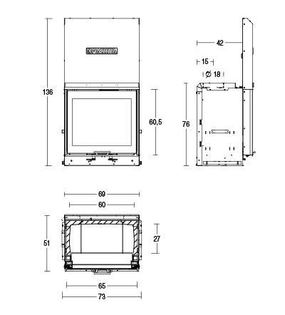 Schiță dimensiuni Focar MC 65/60 SL
