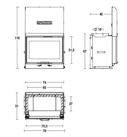 Schiță dimensiuni Focar MC 70/51 SL