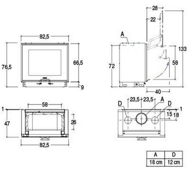 Schiță dimensiuni Focar MC 80/64 BL