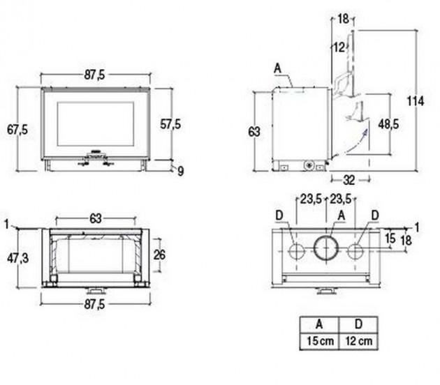 Schiță dimensiuni Focar MC 85/55 BL