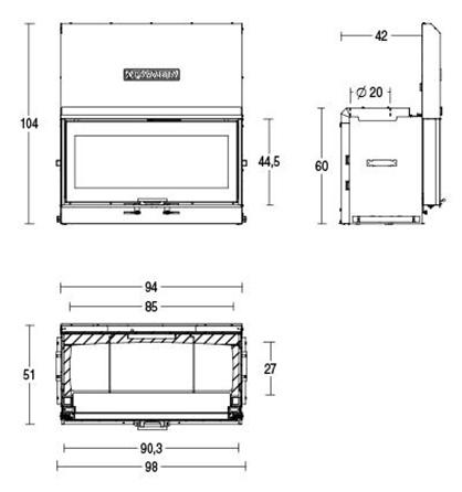 Schiță dimensiuni Focar MC 90/44 SL