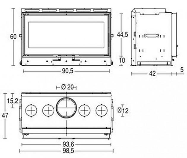 Schiță dimensiuni Focar MC 90/44
