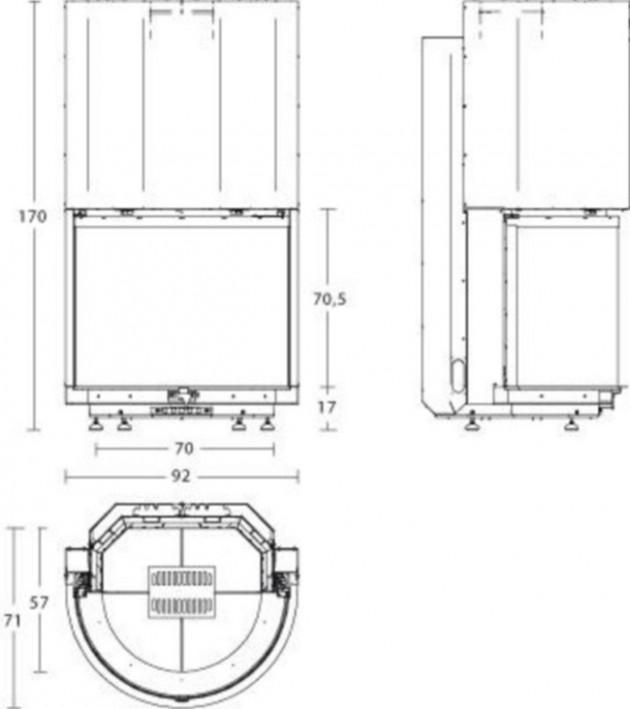 Schiță dimensiuni Focar ME 84/70 T