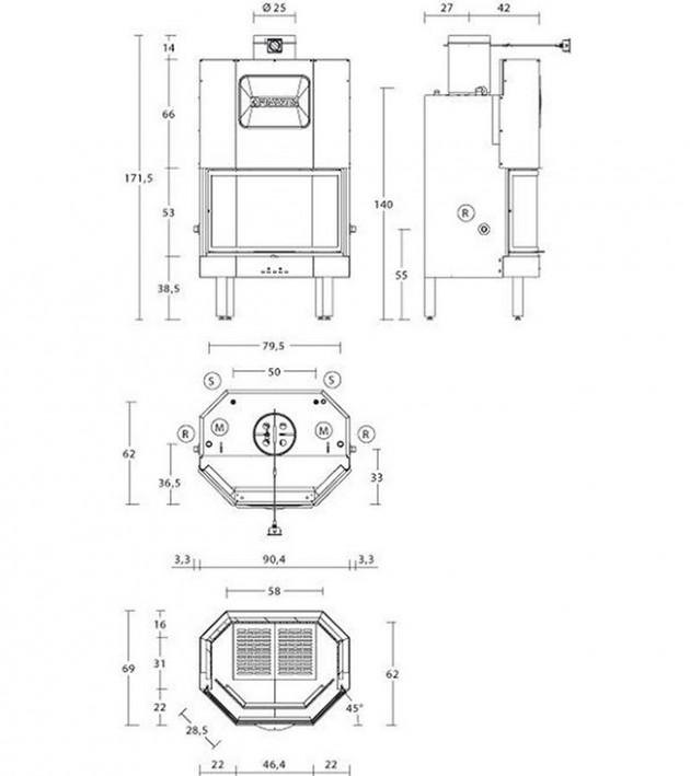 Schiță dimensiuni Focar MT 370