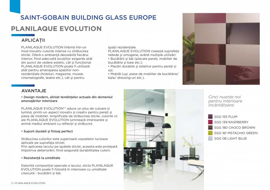 Pagina 2 - Sticlă lăcuită de înaltă durabilitate SAINT GOBAIN GLASS SGG PLANILAQUE...