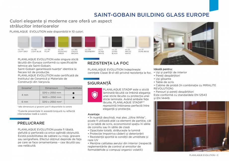 Pagina 3 - Sticlă lăcuită de înaltă durabilitate SAINT GOBAIN GLASS SGG PLANILAQUE...