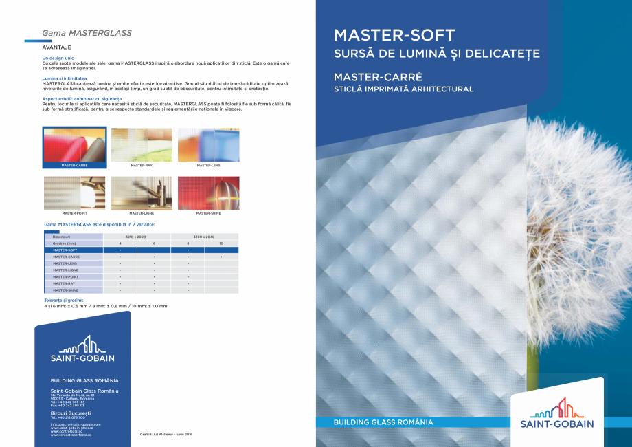 Pagina 1 - Sticlă imprimată arhitecturală SAINT GOBAIN GLASS SGG MASTERGLASS Catalog, brosura...