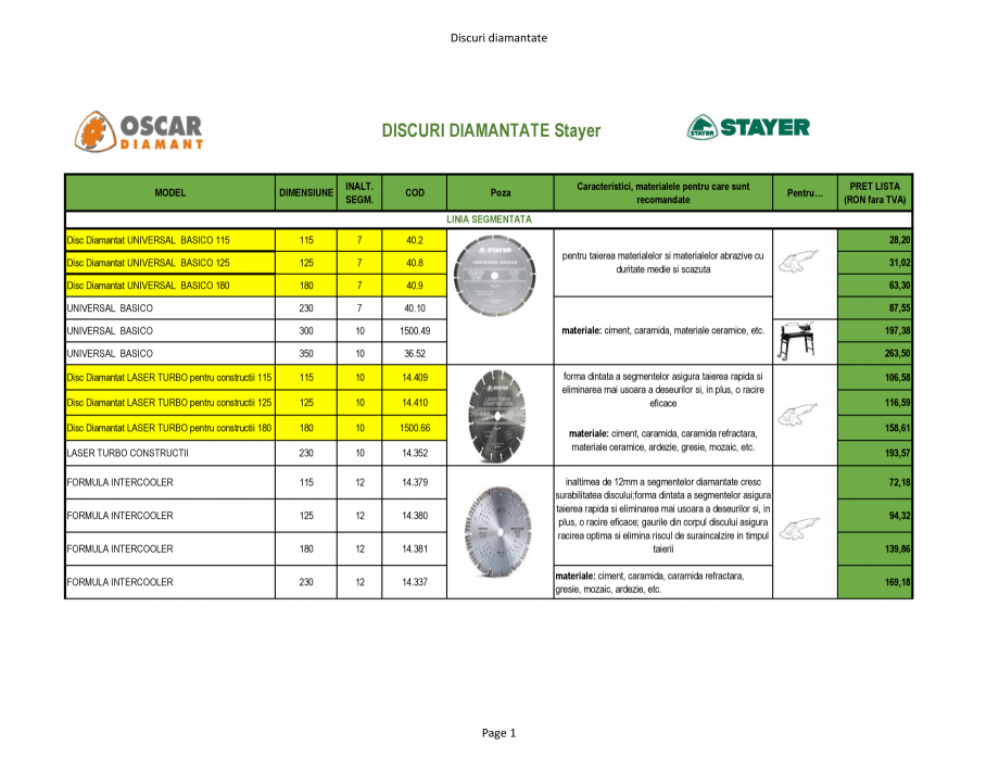 Pagina 1 - Discuri diamantate Stayer de la Unior Tepid  Catalog, brosura Romana Discuri diamantate  ...