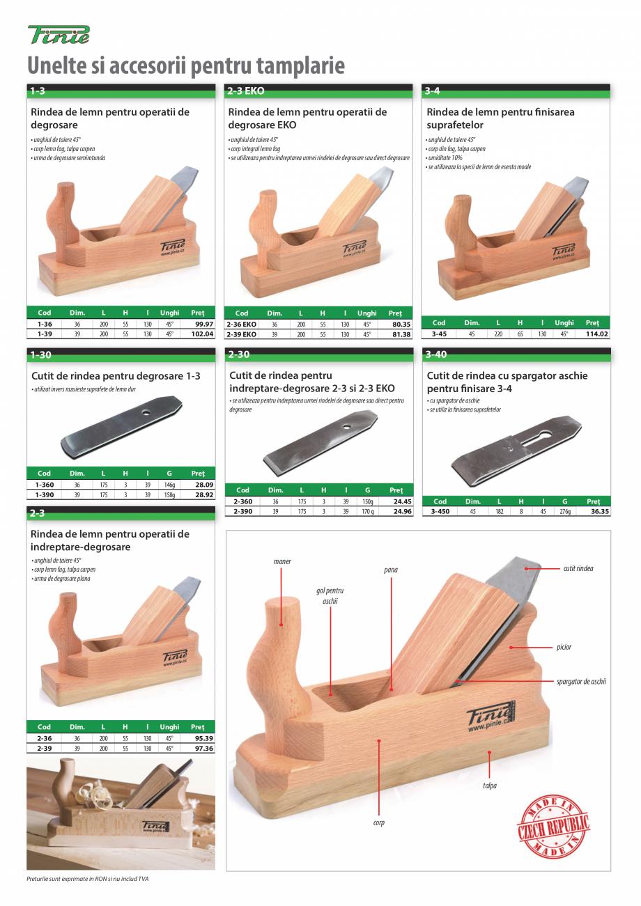 Pagina 1 - Program PINIE de la Unior Tepid - Scule pentru lemn  Catalog, brosura Romana Unelte si...
