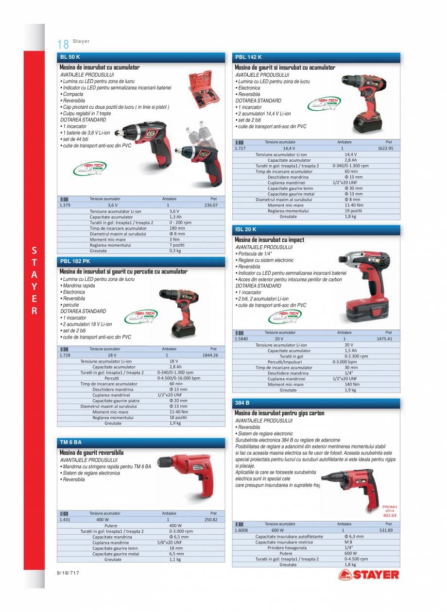 Pagina 1 - Program STAYER de la Unior Tepid- Scule electrice  Catalog, brosura Romana 18  Stayer  BL...