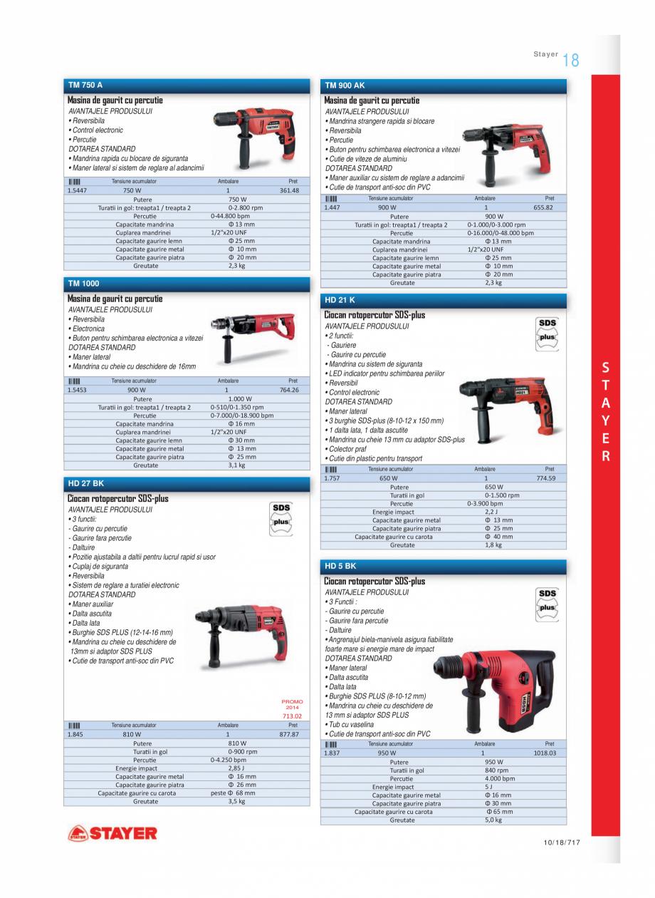 Pagina 2 - Program STAYER de la Unior Tepid - Scule electrice STAYER SDS-plus HD 27BK, SDS-plus HD...