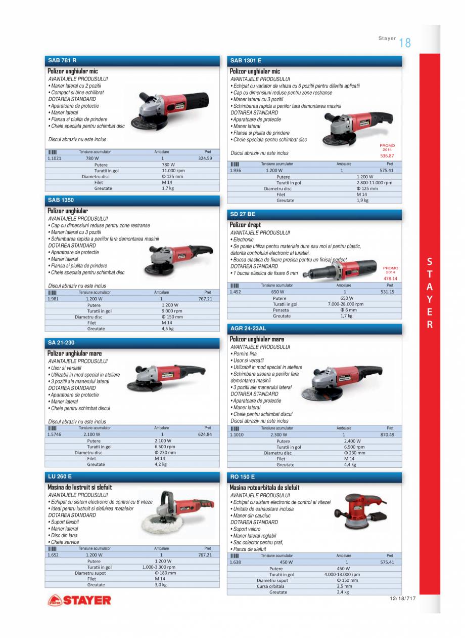 Pagina 4 - Program STAYER de la Unior Tepid - Scule electrice STAYER SC 265 W, SCR 315 W, SN 1470,...
