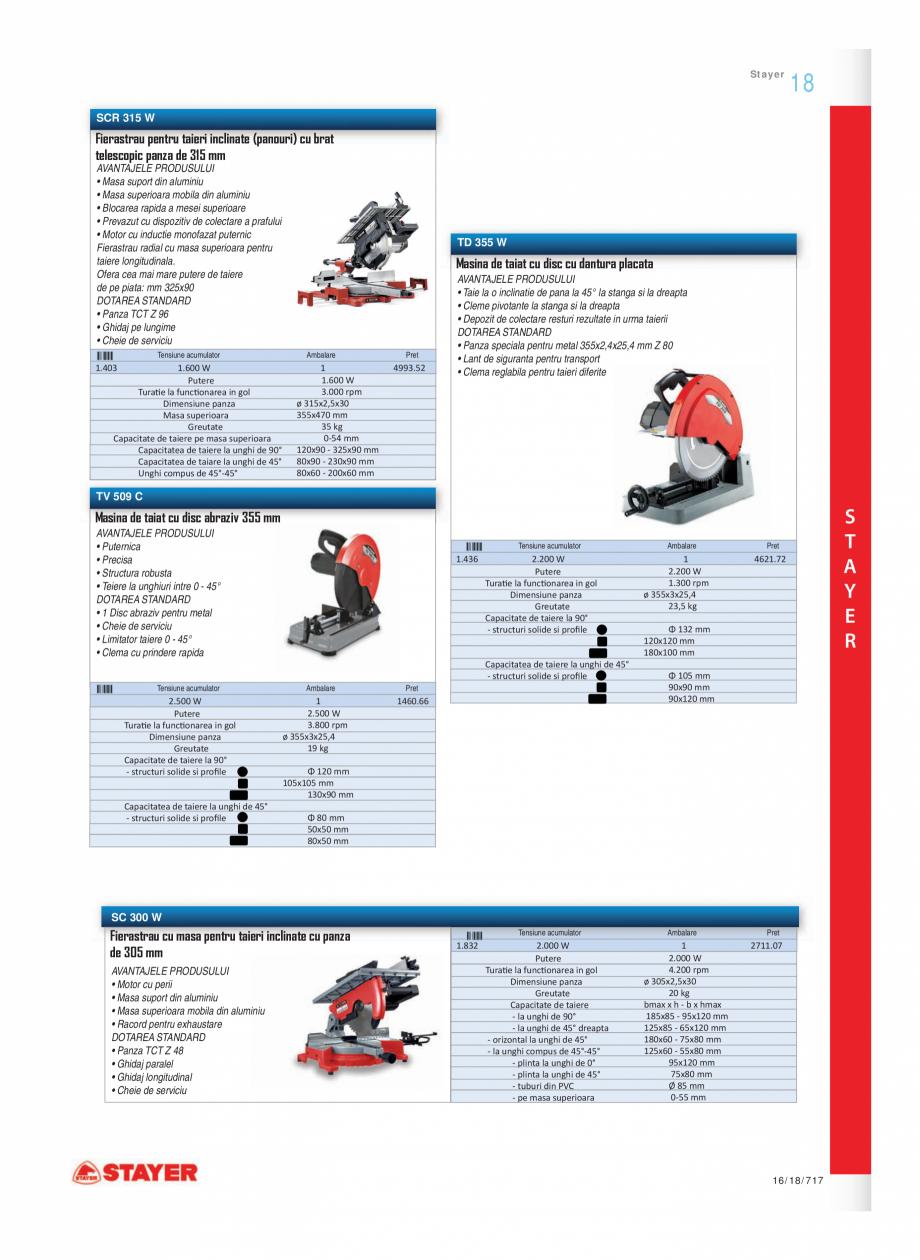 Pagina 8 - Program STAYER de la Unior Tepid - Scule electrice STAYER SC 265 W, SCR 315 W, SN 1470,...