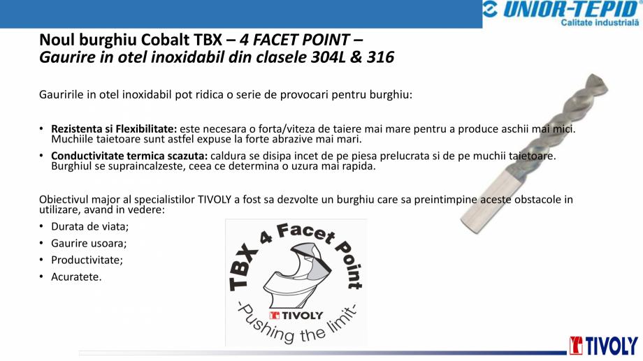 Pagina 5 - Burghiu cobalt TBX Tivoly TIVOLY TBX 4FACET POINT Catalog, brosura Romana