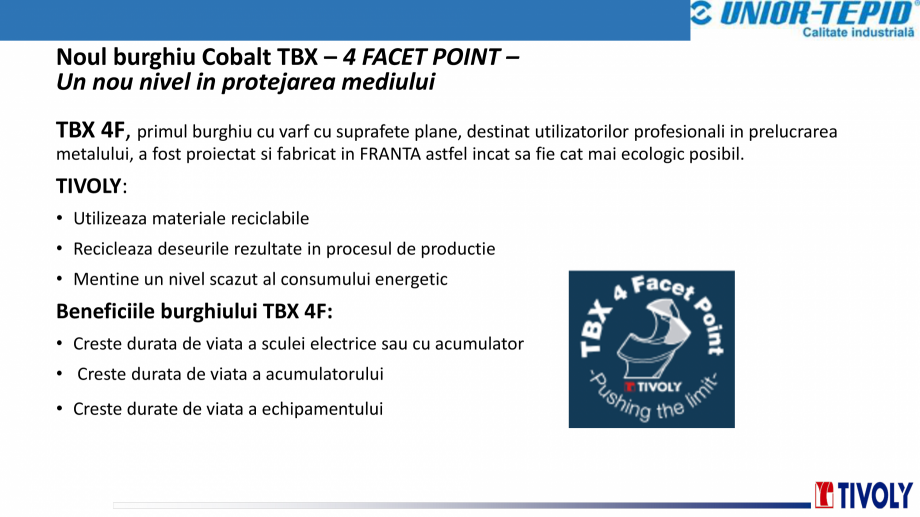 Pagina 8 - Burghiu cobalt TBX Tivoly TIVOLY TBX 4FACET POINT Catalog, brosura Romana