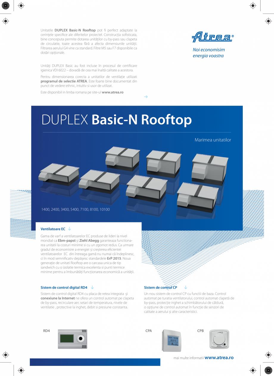 Pagina 2 - Unitati de ventilatie cu montaj exterior ATREA DUPLEX BASIC-N Rooftop Catalog, brosura...