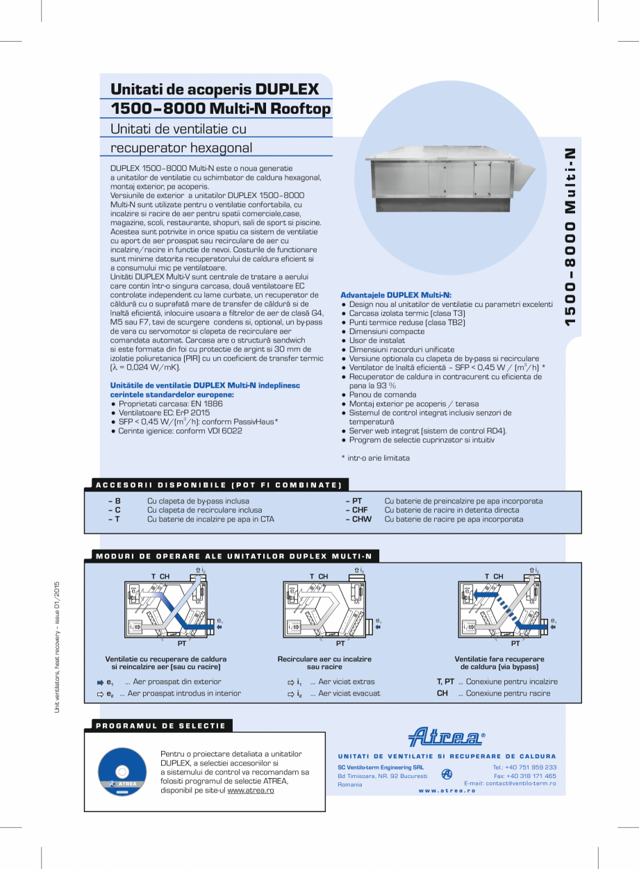 Pagina 1 - Unitati de ventilatie de acoperis cu recuperator hexagonal ATREA DUPLEX MULTI-N Rooftop...