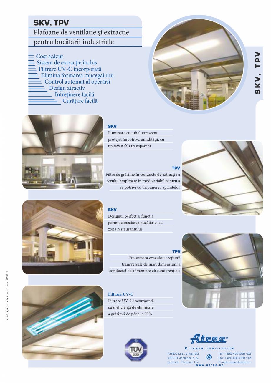 Pagina 1 - Plafoane de ventilatie si extractie pentru bucatarii industriale ATREA Catalog, brosura...