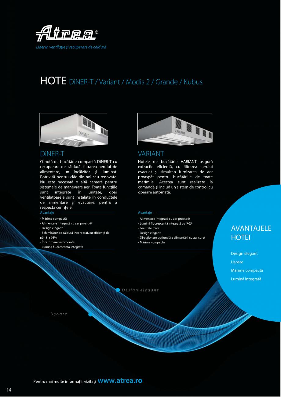 Pagina 14 - Ventilatie moderna pentru bucatarii profesionale  ATREA Diner-T, Variant, Grande, Modis ...