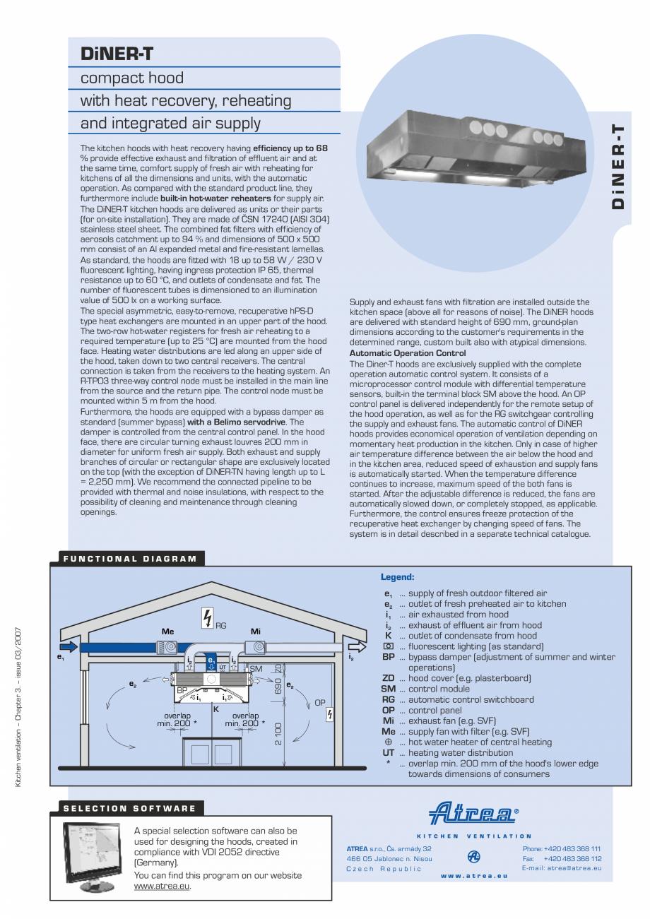 Pagina 1 - Hota pentru bucatarii profesionale ATREA Diner-T Fisa tehnica Engleza DiNER-T  The...
