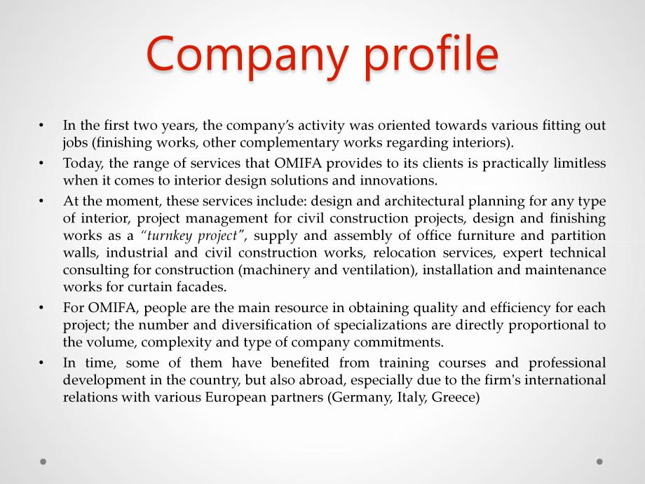 Pagina 3 - Portofoliu de lucrari - Omifa  Lucrari, proiecte Engleza services, expert technical...