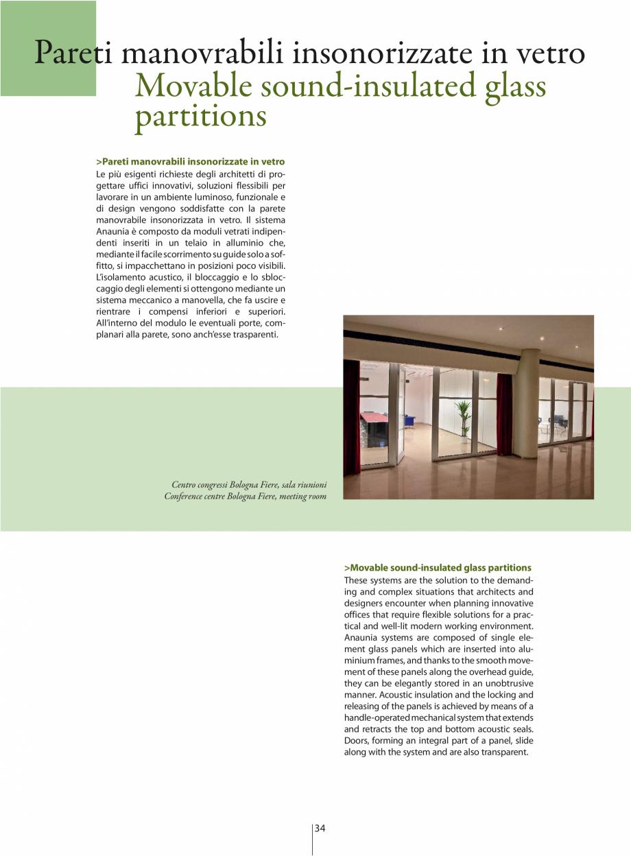 Pagina 1 - Partitii amovibile ANAUNIA PMIV-GLASS Catalog, brosura Engleza, Italiana Pareti...
