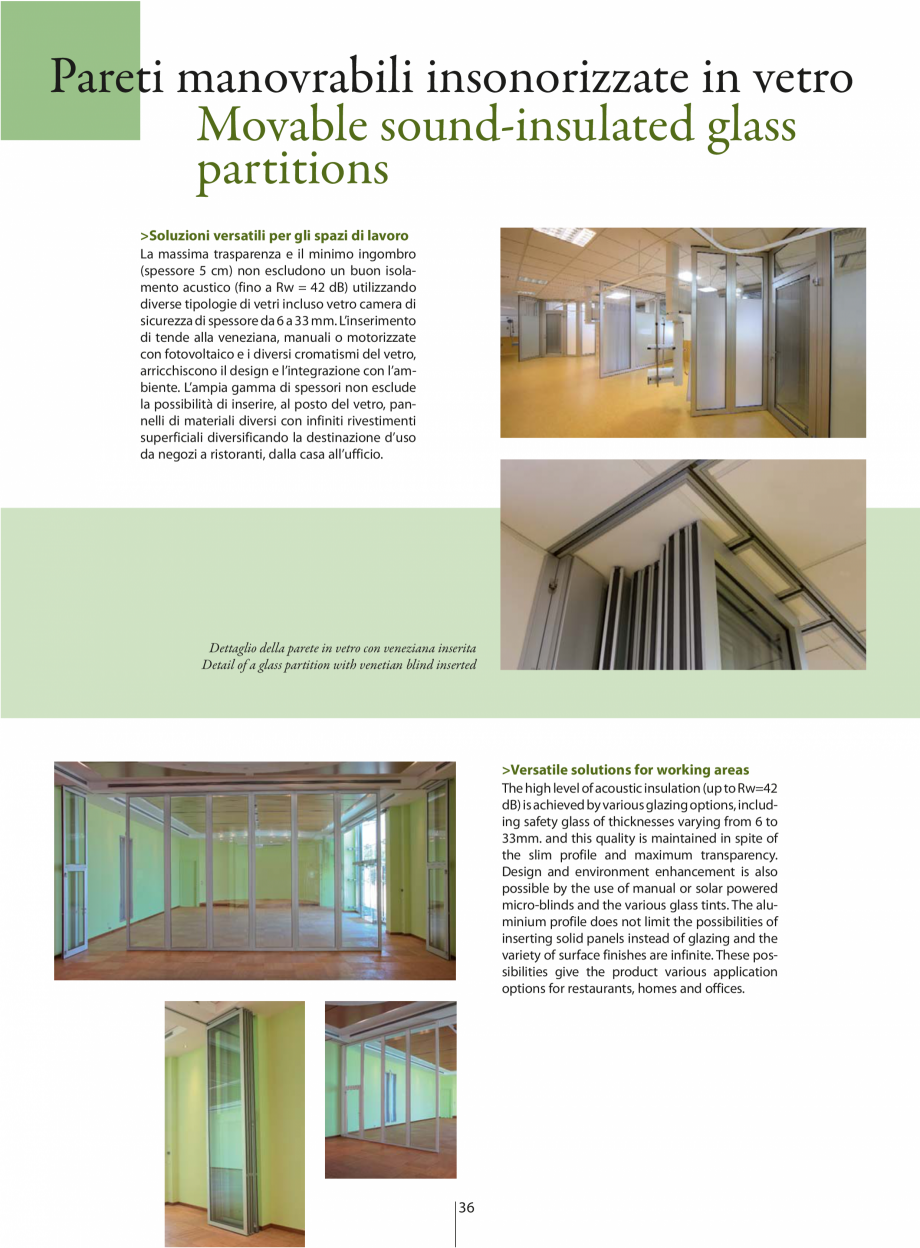 Pagina 3 - Partitii amovibile ANAUNIA PMIV-GLASS Catalog, brosura Engleza, Italiana = 42 dB)...