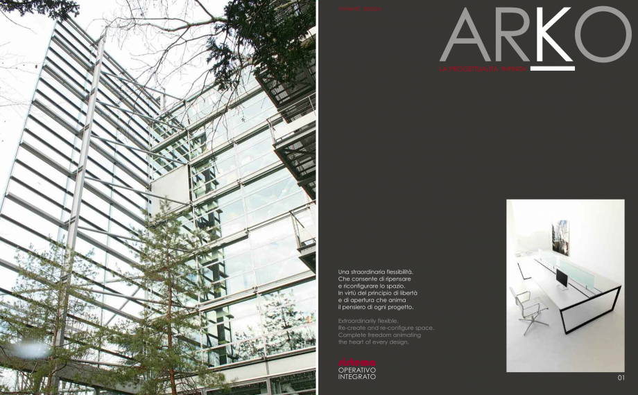 Pagina 2 - Mobilier pentru birouri  IVM Colectia ARKO Catalog, brosura Engleza, Franceza, Italiana...