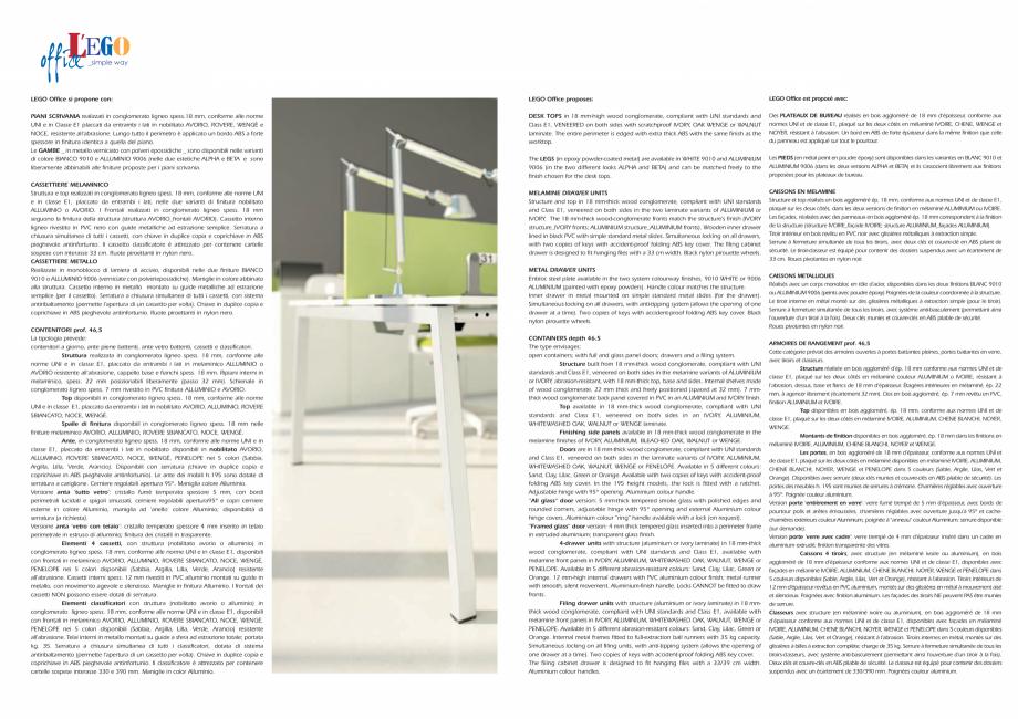 Pagina 15 - Mobilier pentru birouri IVM Colectia L'EGO Catalog, brosura Engleza, Italiana oir ...