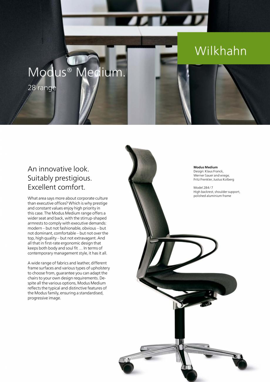 Pagina 1 - Scaune pivotante Wilkhahn Modus Medium Catalog, brosura Engleza Modus® Medium. 28 range ...