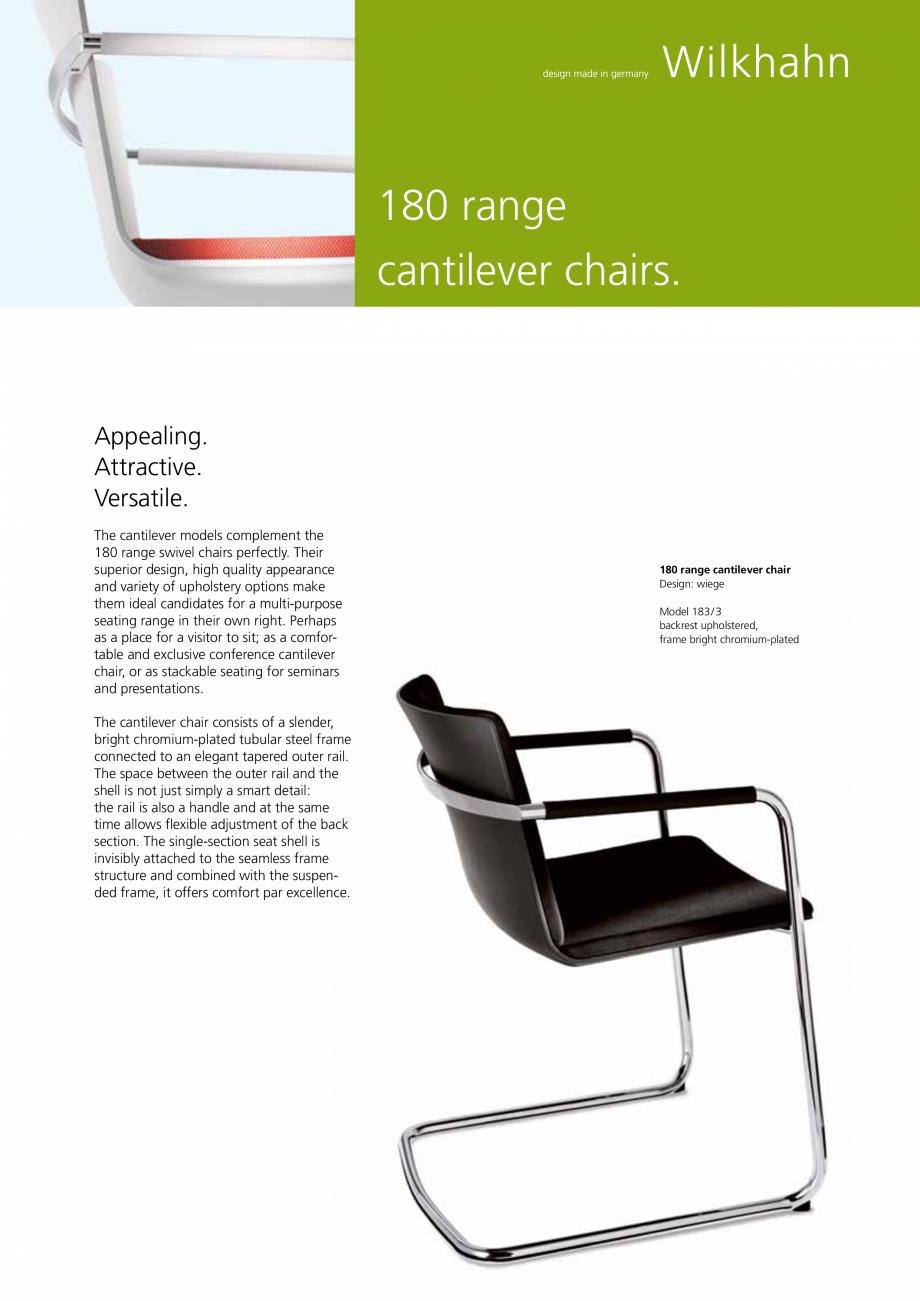 Pagina 1 - Scaune consola Wilkhahn Neos Cantilever Catalog, brosura Engleza 180 range cantilever...