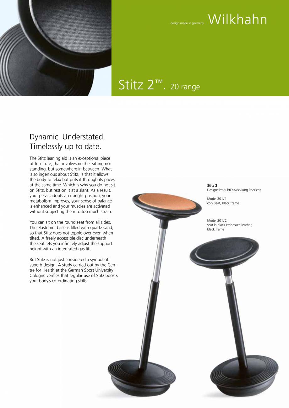 Pagina 1 - Scaune Wilkhahn Stitz Catalog, brosura Engleza Stitz 2™. 20 range  Dynamic. Understated...
