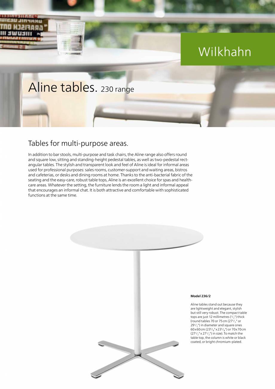 Pagina 1 - Masa pentru zone multifunctionale  Wilkhahn Aline Catalog, brosura Engleza Aline tables. ...