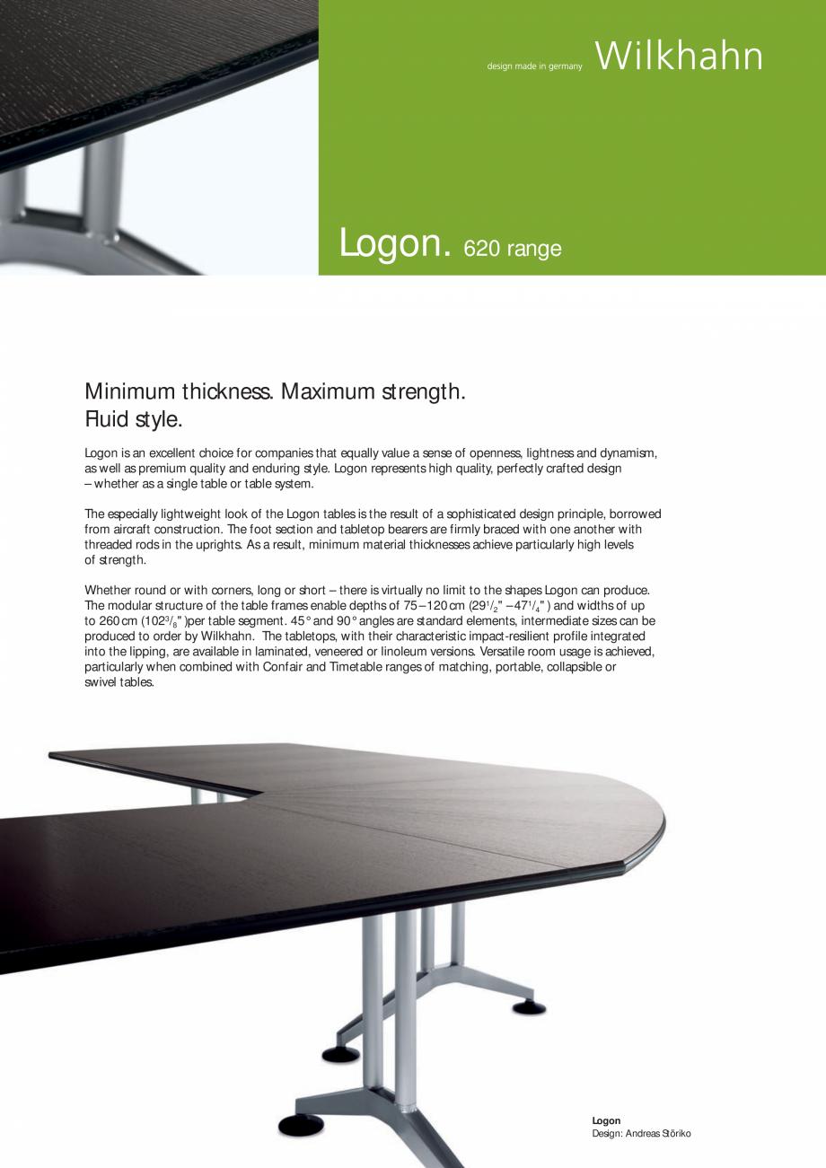 Pagina 1 - Masa Wilkhahn Logon Catalog, brosura Engleza Logon. 620 range  Minimum thickness. Maximum...