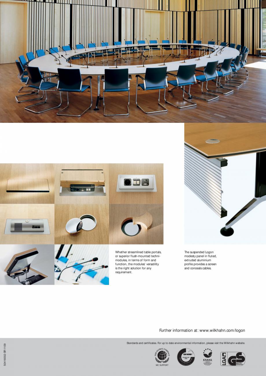 Pagina 2 - Masa Wilkhahn Logon Catalog, brosura Engleza o order by Wilkhahn. The tabletops, with...