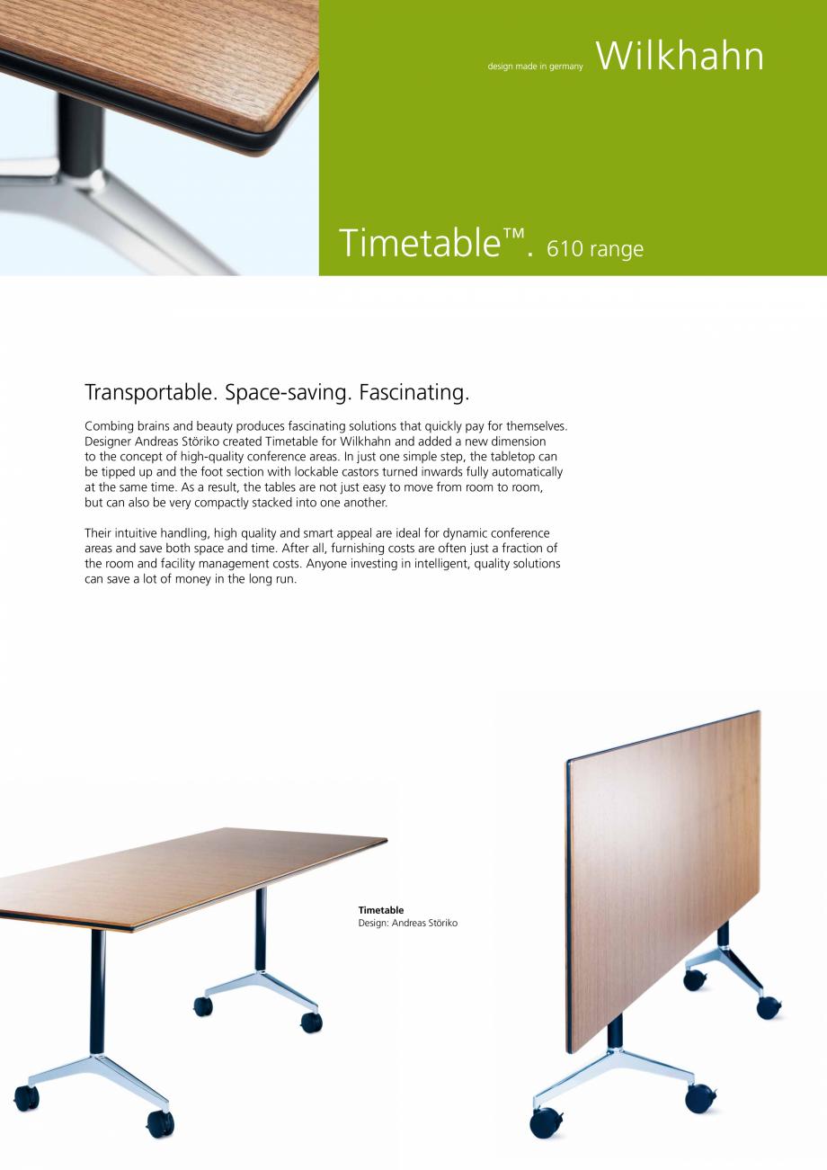 Pagina 1 - Masa mobila Wilkhahn Timetable Catalog, brosura Engleza Timetable™. 610 range ...