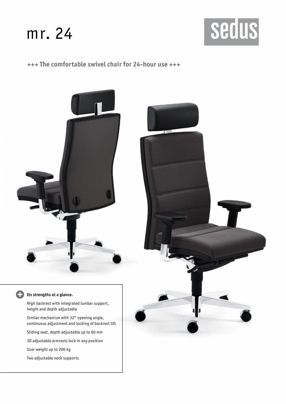 catalog brosura scaune de birou pivotante mr 24 sedus. Black Bedroom Furniture Sets. Home Design Ideas